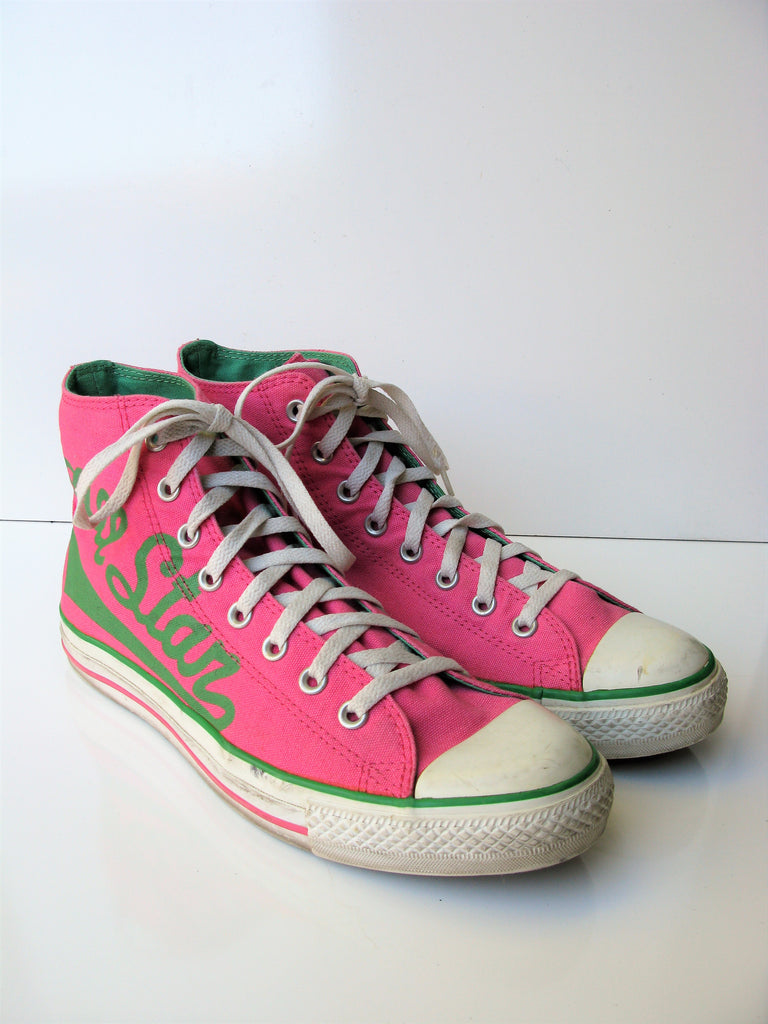 Converse Pink & Green All Star Canvas High Tops 10M /12W