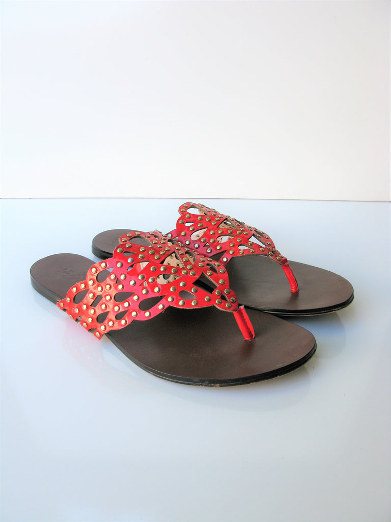 Vince Camuto Elian Leather Studded Thong Sandal 8/8.5
