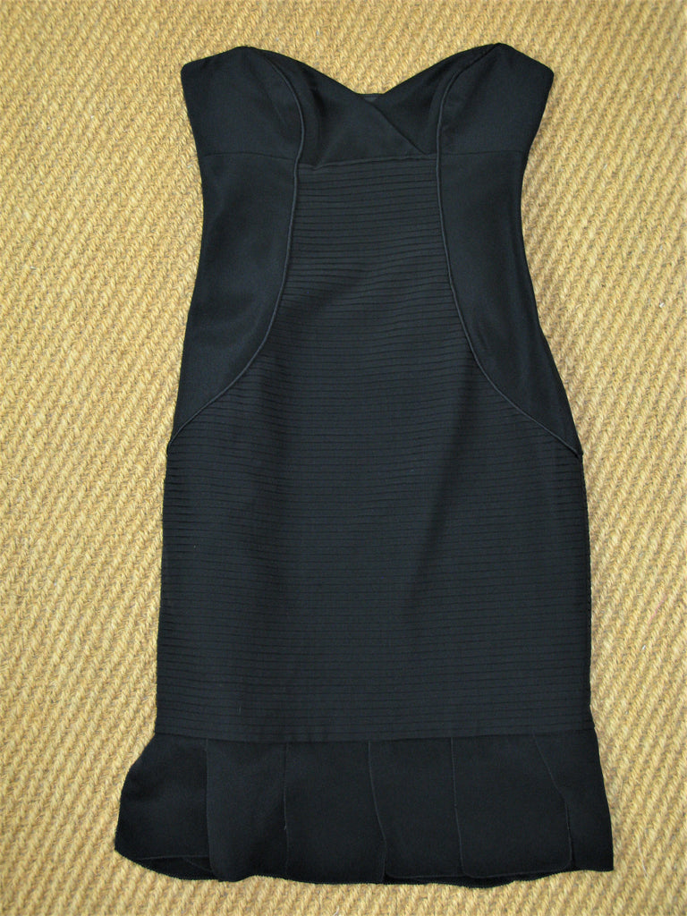 Nicole Miller Collection Silk Strapless Pencil Tuxedo Dress 0