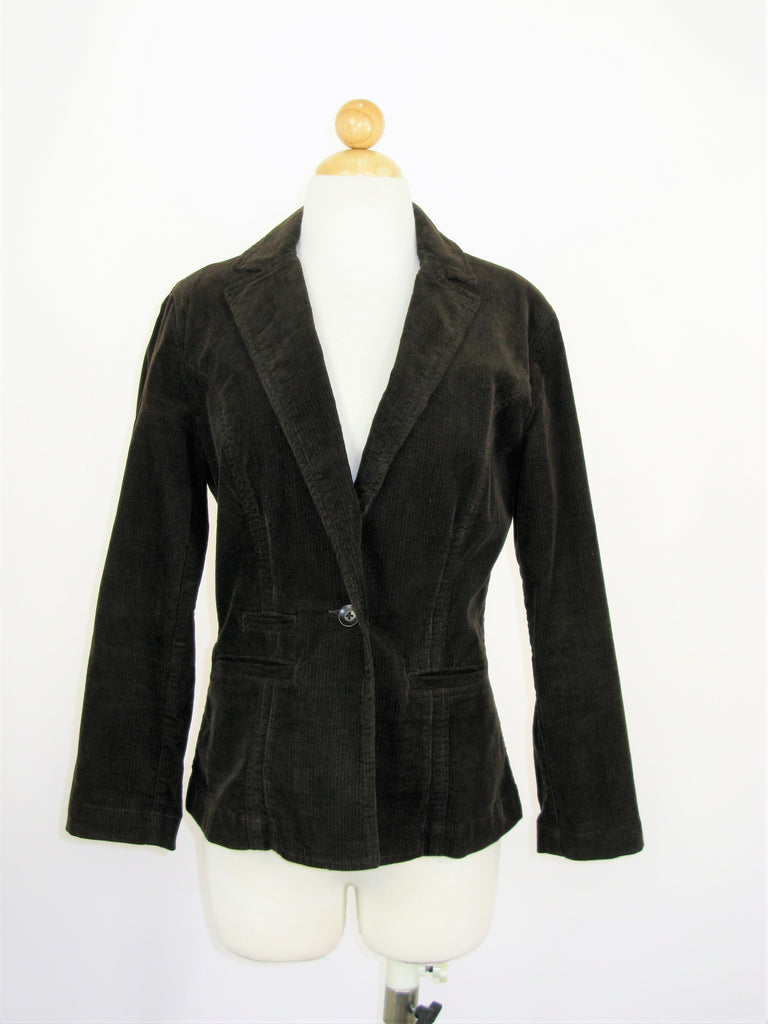 CAbi Chocolate Brown Fitted Corduroy Blazer S