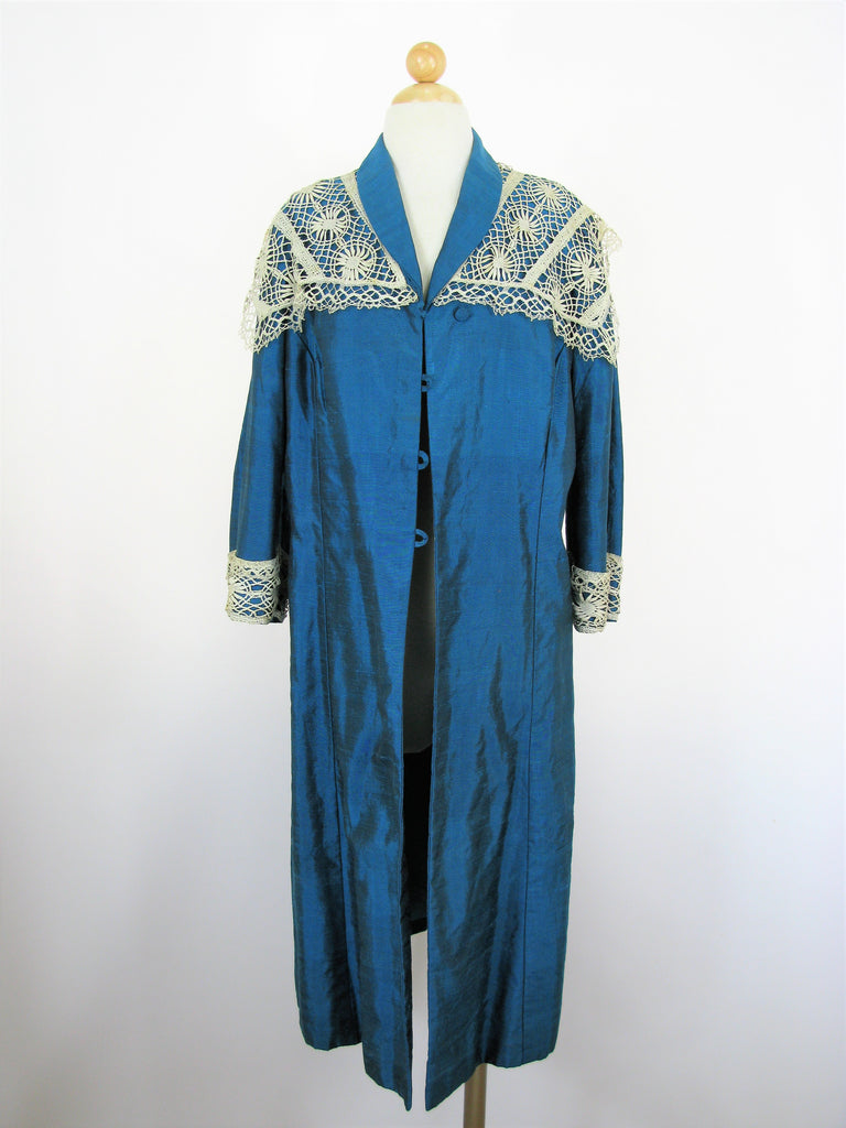 Vintage Raw Silk Teal Blue Antique Lace Trim Overcoat M