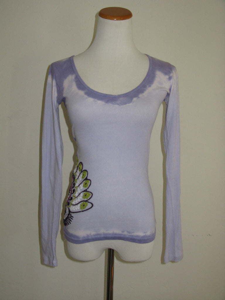 Gypsy05 Tie Dye Embroidered Long Sleeve Thermal Top XS - ruby & sofia
