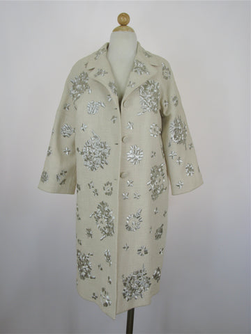 Max Azria Collection Woven Embroidered Overcoat L NWT