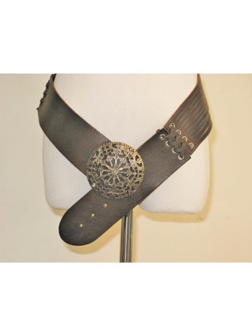 Esisto di conbipel Taglia Unica Split Leather Wide Italian Belt S/M NWOT