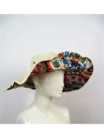 Retro Wide Brim Reversible Collapsable Sun Hat NWT