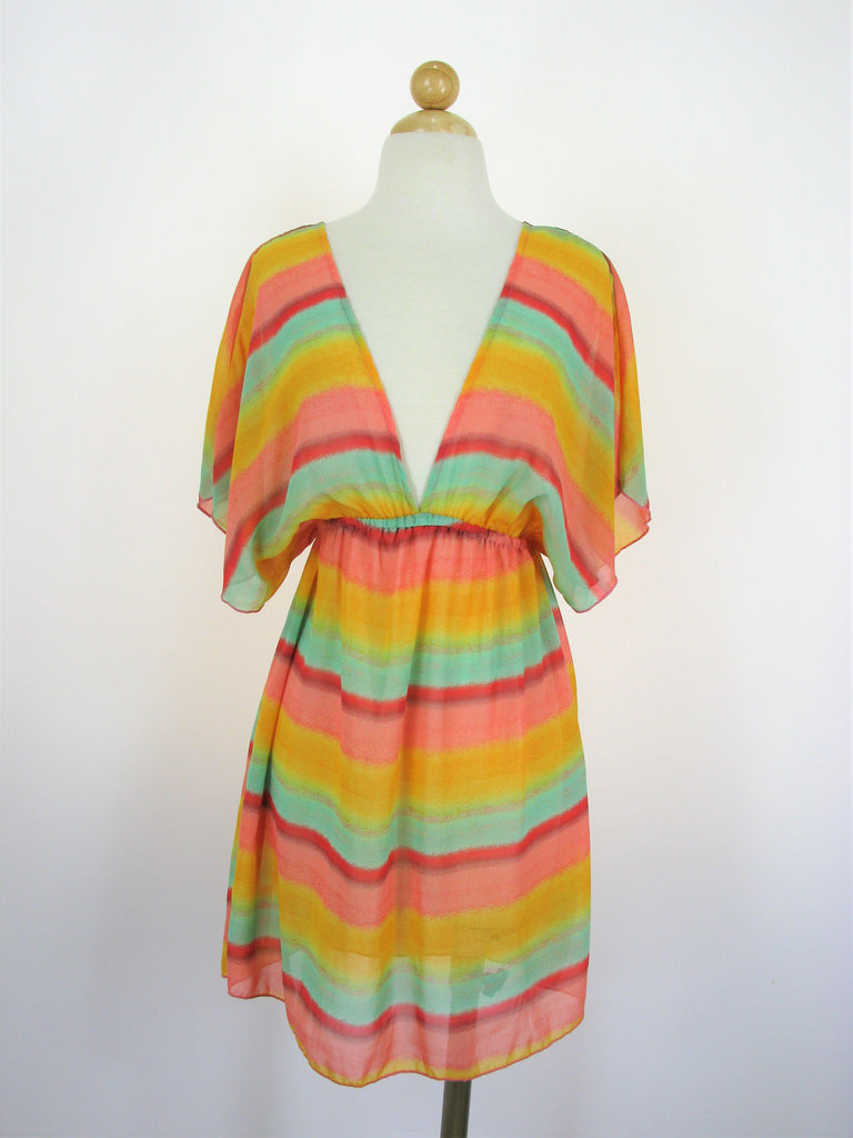 Miken Multi Color Chiffon Cover-Up S NWOT
