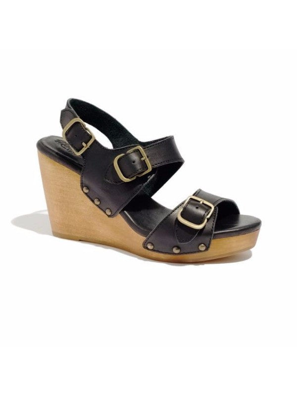 Madewell Tri Buckle Leather Wedge Sandals
