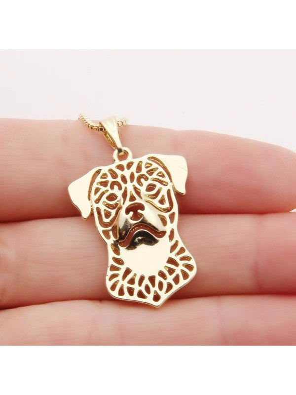 Rottweiler Silver Plate or 14k Gld Plate Necklace - Proceeds Go to Animal Rescue
