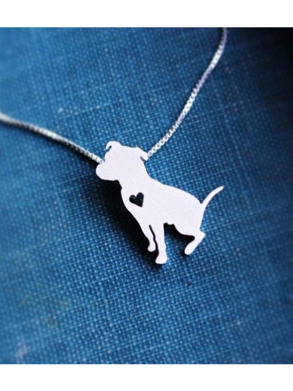 Sitting Pit Bull w/Heart Silver Plated Necklace - Proceeds go to Pit Bull rescue