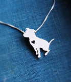 Sitting Pit Bull w/Heart Silver Plated Necklace - Proceeds go to Pit Bull rescue - ruby & sofia