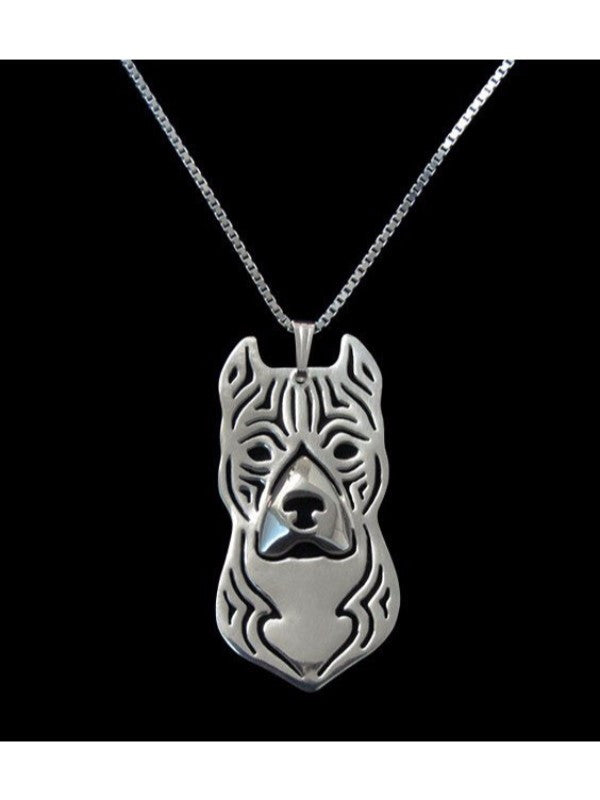 Pit Bull Antique Silver Plated Necklace - Proceeds Go to Pit Bull Rescue
