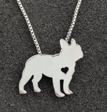 French Bull Dog with a Heart Silver Plate Necklace - Proceeds Go to Animal Rescue