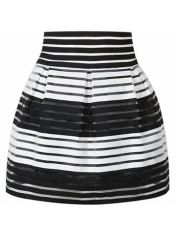 Nordstrom Aqua Black & White Sheer Illusion Stripe High Waist Skater Skirt