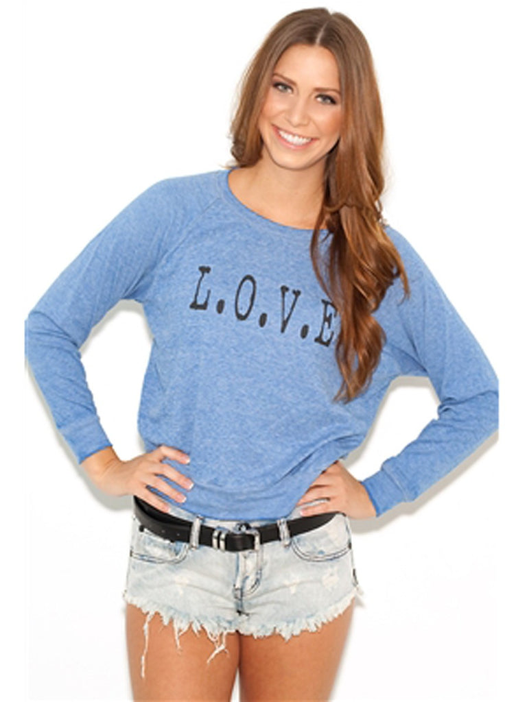 JET by John Eshaya Love Sweatshirt in Blue P/S - ruby & sofia