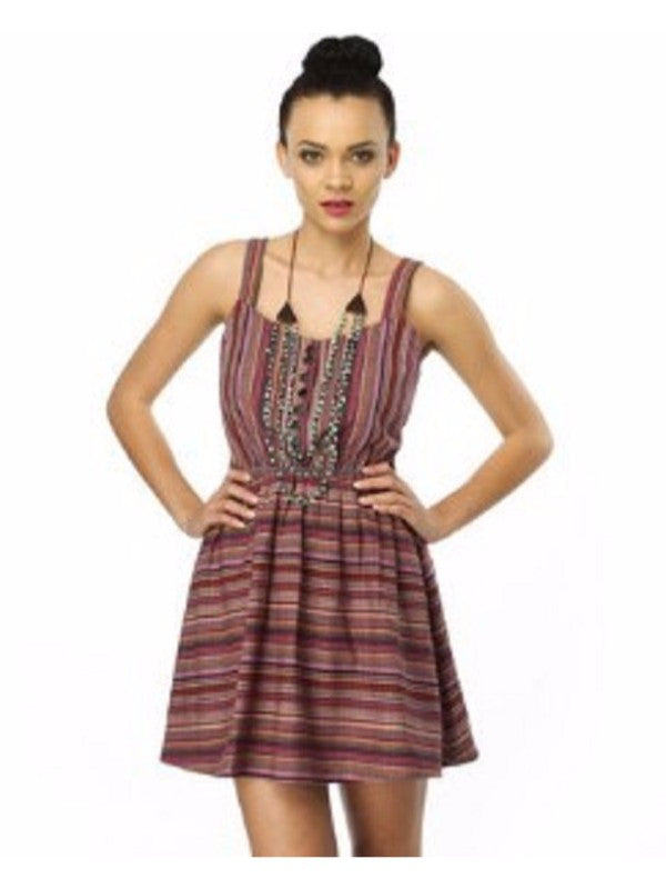 Lucca Couture Cut-Out Destination Striped Dress