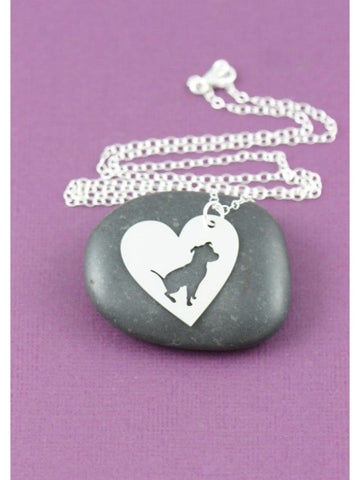 Sitting Pit Bull in a Heart Silver Plated Necklace ( 2nds ) - Proceeds go to Pit Bull rescue