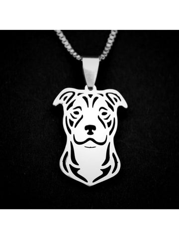 Smiling Pit Bull Stainless Steel Necklace - Proceeds Go to Pit Bull Rescue