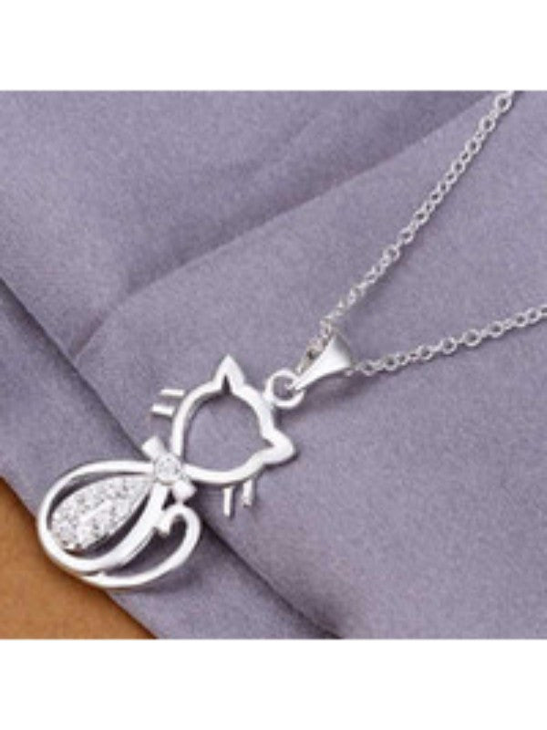 Silver Plated Cat Charm Necklace - Proceeds go to Animal Rescue