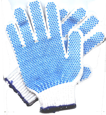 White Work Gloves with Blue Dots