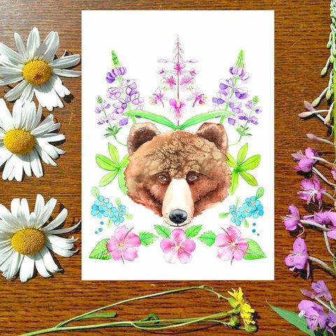 Greeting Card - Wildflower Bear