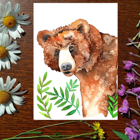Bear in the Bushes - Greeting Card