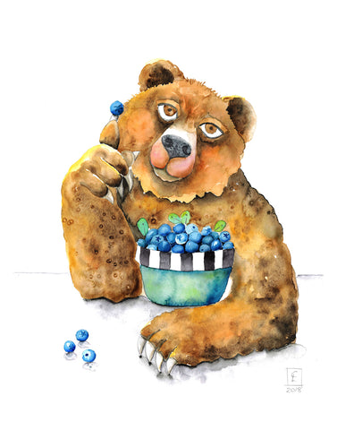 Blueberry Bear - Art Print