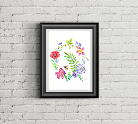 Spring Wreath - Art Print