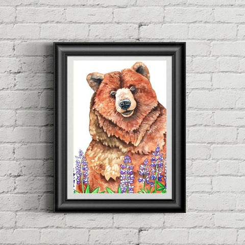 "Bear  Art - ""Lupine Bear"" - Art Print"