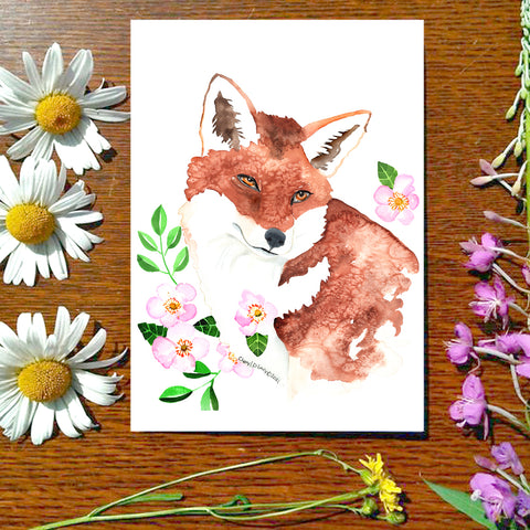 Fox and Roses - Greeting Card