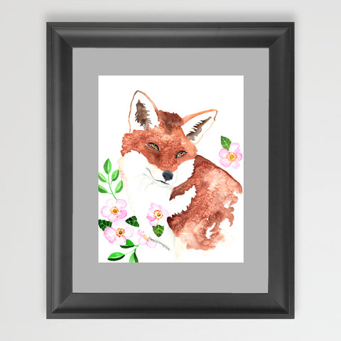 Fox and Roses - Art Original