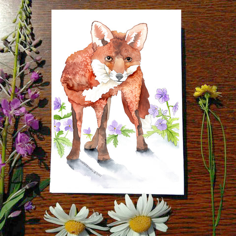 Fox and Geranium - Greeting Card