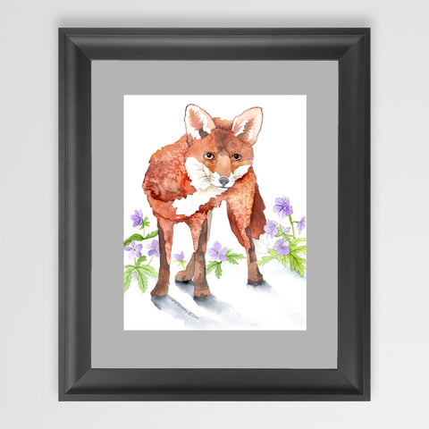 Fox and Geranium - Art Original