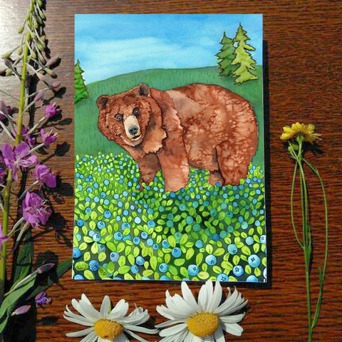 Blueberry Bear - Greeting Card