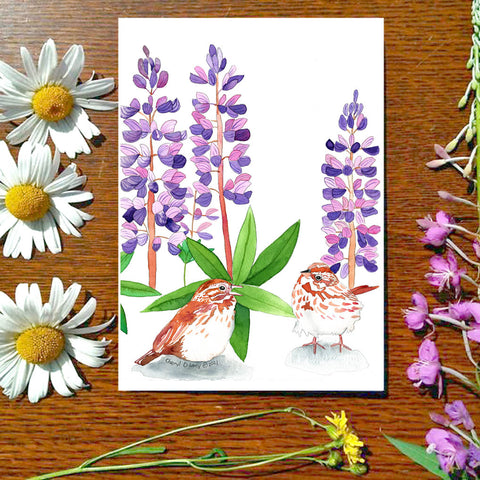 Sparrow in the Lupine - Greeting Card