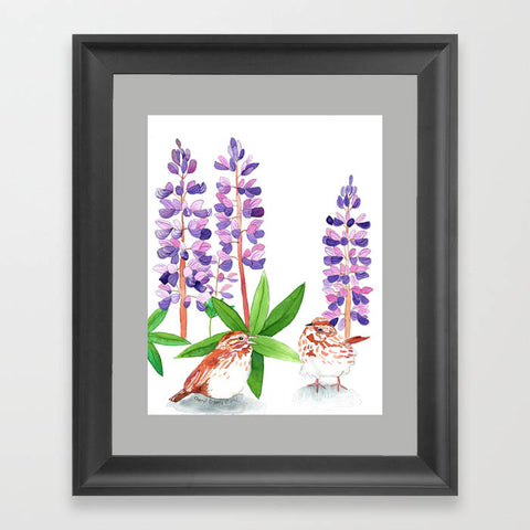 Sparrow In The Lupine - Art Print