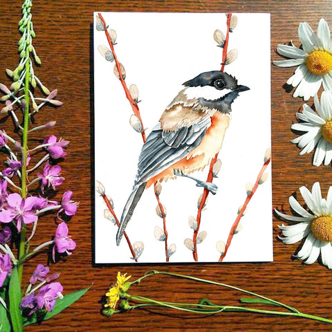 Chickadee and Pussywillow - Greeting Card
