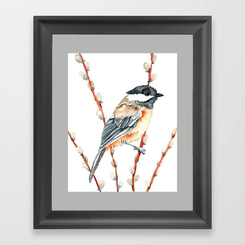 Chickadee and Pussywillow - Art Print