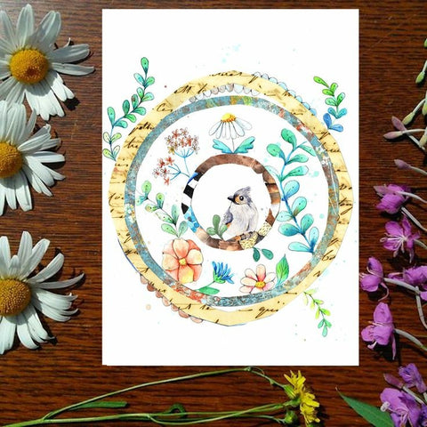 Greeting Card - Titmouse Wreath