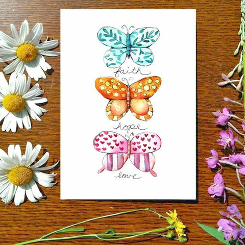 Greeting Card - Faith Hope Love