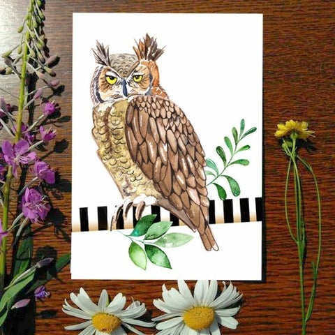 Greeting Card - Great Horned Owl