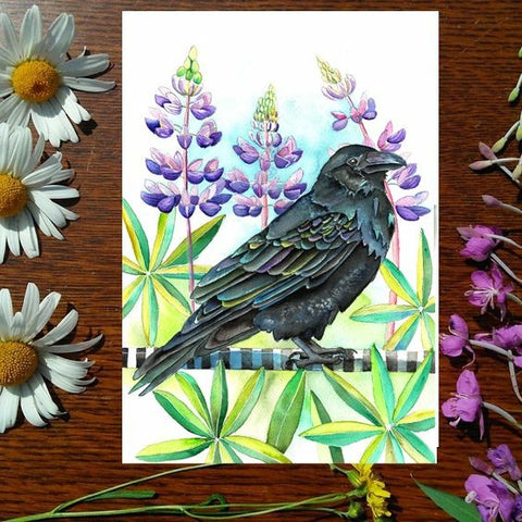 Greeting Card - Lupine Raven