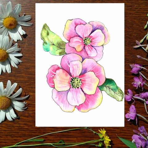 Greeting Card - Pink Flowers