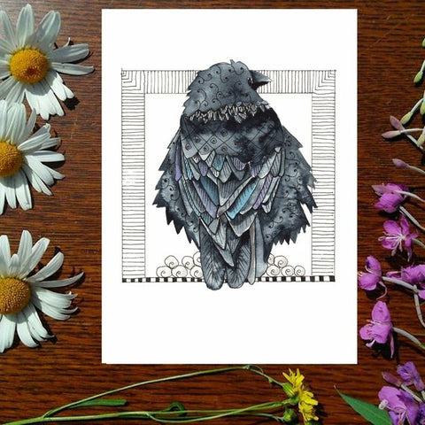 Greeting Card - Fluffy Raven