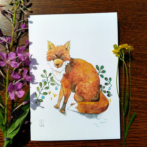 Greeting Card - Blueberry Fox