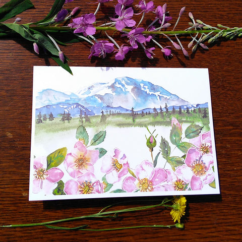 Greeting Card - Denali Wild Roses