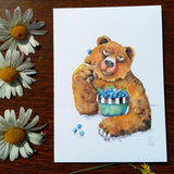 Greeting Card - Blueberry Bear