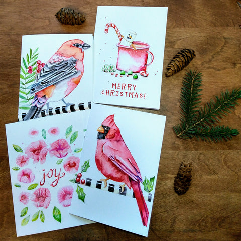 Christmas Greeting Card - Red and white set