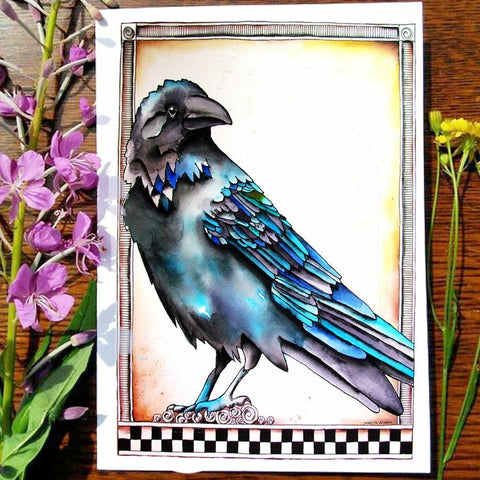 Greeting Card - Blue Raven