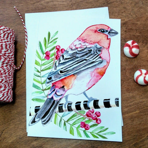 Christmas Greeting Card - Pine Grosbeak
