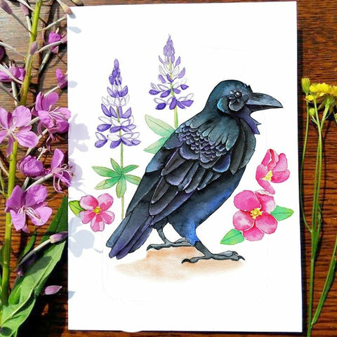 Greeting Card - Garden Raven